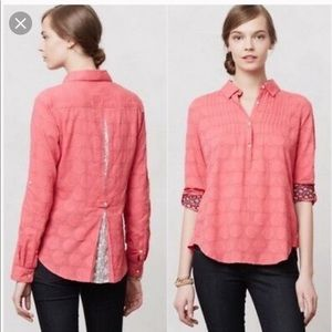 Anthropologie Isabella Sinclair Lace Pink Shirt
